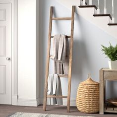 Union Rustic This Ladder will add a perfect touch of class and balance to any room. Simply lean the ladder where you think it fits best. Blanket Holder, Blanket Rack, Diy Blanket Ladder, Blanket Storage, Rustic Ladder, Wood Ladder, Rustic Wood, Ladder Decor, Diy Ladder