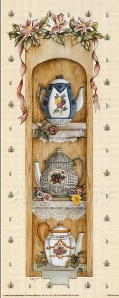 Art Print: Fanciful Teapots by Kay Lamb Shannon : Vintage Diy, Decoupage Vintage, Vintage Paper, Tee Kunst, Decoupage Printables, Diy And Crafts, Paper Crafts, Country Paintings, Tea Art