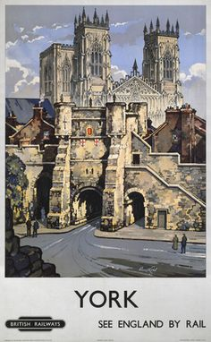 This York, see England by rail Art Print Art Print is created using state of the art, industry leading Digital printers. York, see England by rail Posters Uk, Train Posters, Railway Posters, Poster Prints, Art Prints, British Travel, York Minster, National Railway Museum, Vintage Travel Posters