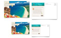 Hawaii Travel Vacation Postcard Template Design by StockLayouts
