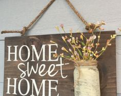Porch Decor, Home sweet home rustic front door sign decor, Gift, Outdoor signs for house & home, front porch wood sign decoration - Rustic Outdoor Home Sweet Home Wood Signs Front by RedRoanSigns - Diy Home Decor Rustic, Easy Home Decor, Cheap Home Decor, Farmhouse Decor, Rustic Wood Crafts, Rustic Outdoor Decor, Farmhouse Style, Rustic Bench, Rustic Cottage