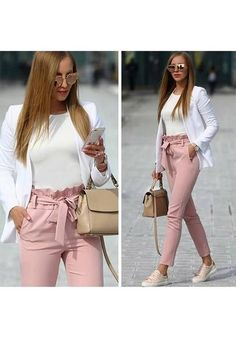 Long Pants with Bow Tie Waist Belt High Fashion Elegant Pink Women - Pants - Bottoms - Business kleidung damen - Damenmode Casual Work Outfits, Professional Outfits, Mode Outfits, Work Attire, Office Outfits, Work Casual, Classy Outfits, Trendy Outfits, Office Wear