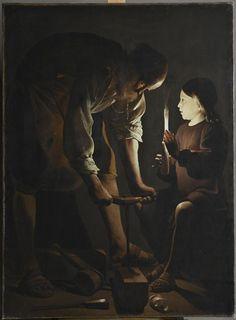 Georges de La Tour | Saint Joseph charpentier | représente Jésus mais dans une situation commune, échange entre père fils. Intimité avec clair-obscur réaliste
