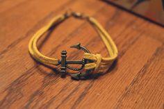 Antique Bronze Anchor Bracelet Guys. $5.00, via Etsy.