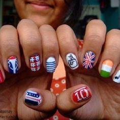 10 One Direction Manicures To Celebrate Harry Styles' Birthday Love Nails, How To Do Nails, Pretty Nails, One Direction Nails, Mary Janes, Band Nails, Nail Time, Cute Nail Art, Nail Set