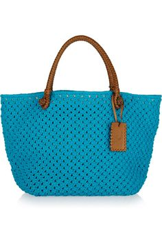 Ralph Lauren Collection Crocheted rope and leather tote 1