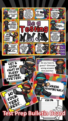 Be a Test Taking Ninja is a display that will be helpful during the weeks and days leading up to testing. Display it in your classroom, hallway, common area, office or anywhere that students will see these reminders. Class Bulletin Boards, Bulletin Board Display, Display Boards, Test Taking Skills, Test Taking Strategies, Fourth Grade, Third Grade, Sixth Grade, Ninja