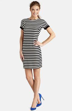 black and white stripe ponte sheath dress
