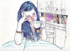 книги, чашка, рисунок, девушка, стол, чай, взгляд, шкаф