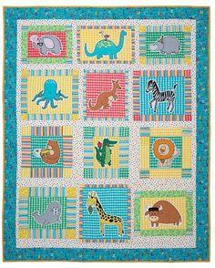 """Zoo Quilt Kit Designer: Heidi Pridemore Quilt Size: 64"""" x 80"""" #quilting #quiltlovers"""