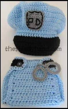CROCHET PATTERN Newborn Police Hat & Diaper Cover by TheSteadyHand