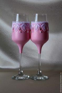 """Купить Свадебные бокалы """"Анастасия"""" - свадебные аксессуары, челябинск, классический стиль, свадебные бокалы, розовый"""