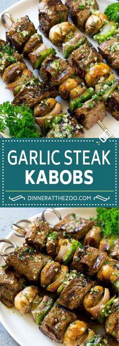 Steak Kabobs with Garlic Butter Steak Kabobs Recipe Beef Kabobs Grilled Steak Steak Skewers Beef Kabob Recipes, Grilled Steak Recipes, Cooking Recipes, Grilled Beef, Sirloin Steak Recipes, Grilled Steaks, Grilled Shrimp, Grilled Chicken, Easy Beef Recipes