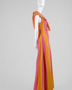 Striped pink and orange acrylic dress, by Rudi Gernreich for Harmon Knitwear, American, late 1960s.