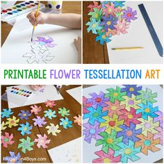 Flower Tessellation Activity for Kids (with a Printable Template) - Frugal Fun For Boys and Girls