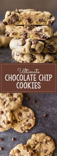Ultimate Chocolate Chip Cookies - How to make thick, soft, bakery style chocolate chip cookies! Cookies Receta, Yummy Cookies, Homemade Chocolate, Chocolate Recipes, Cookie Recipes, Dessert Recipes, Cupcake Recipes, Soft Chocolate Chip Cookies, Cookies Soft