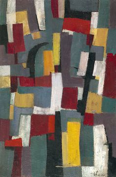Charles Green Shaw, Polychrome II, 1954 ~~ art abstract, artist, painter, painting, red, color, compostion