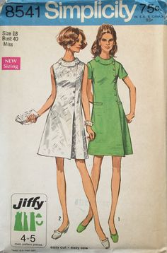 This is a vintage 1969 Simplicity 8541 misses jiffy dress sewing pattern. The…