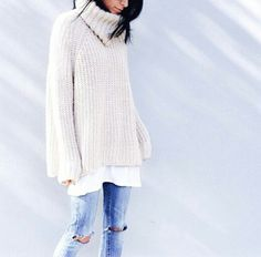 chunky knits with distressed jeans