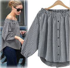 olivia palermo gingham off shoulder tee blouse shirt goodnight macaroon Frock Fashion, Fashion Sewing, Diy Fashion, Fashion Dresses, Sewing Clothes, Diy Clothes, Clothes For Women, Diy Summer Clothes, Stitching Dresses