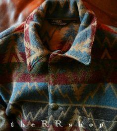 Vintage Ralph Lauren Made in USA Indian Blanket Concho Coat Size M | eBay
