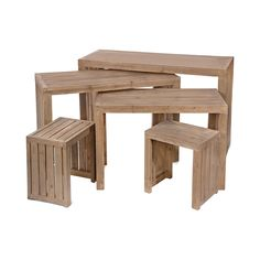 With a variety of sizes, the Chester Display Tables have a vintage look to beautifully complement rustic décor.  Arrange these tables together or separately and enjoy their slatted wood design and exce...  Find the Chester Display Tables - Set of 5, as seen in the Live the Good Life in Napa Valley Collection at http://dotandbo.com/collections/live-the-good-life-in-napa-valley?utm_source=pinterest&utm_medium=organic&db_sku=111484