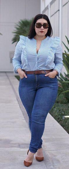 Plus Size Flounce Stripe Top