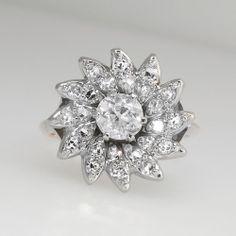 Beautiful 1950's Sparkling 1.13ctw Diamond Cocktail Ring 18k/Plat