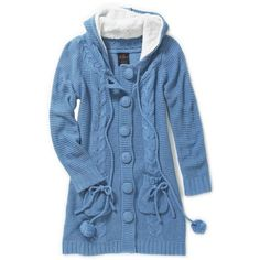 Bright Blue Longline Plush Hooded Cardi featuring polyvore, women's fashion, clothing, tops, cardigans, jackets, coats, outerwear, women's tops, hooded top, long line cardigan, cardigan top, longline tops and hooded cardigan