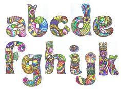 Sheila Arthurs - Alphabet first eleven Doodle Alphabet, Alphabet Art, Alphabet And Numbers, Letter Art, Graffiti Alphabet, Calligraphy Alphabet, Islamic Calligraphy, Tangle Doodle, Tangle Art