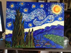 Starry night.  This time with Art Social.  This came out quite well. Acrylic on canvas (16x20)