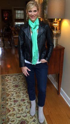 Black leather jacket-#WHBM @whbm White Tshirt - #Caslon Scarf - #JonesNewYork Jeans - #JCrew @J.Crew Suede Booties - #MtngOriginals #Nordstrom @nordstrom
