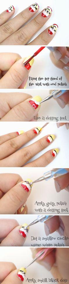 Minion Holiday Nails | 20+ DIY Christmas Nail Art Ideas for Short Nails