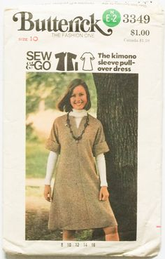 Vintage 70s Butterick 3349  Kimono Sleeve Pull by PriorPatterns, $2.00