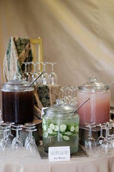Beverage Display At Rustic Wedding