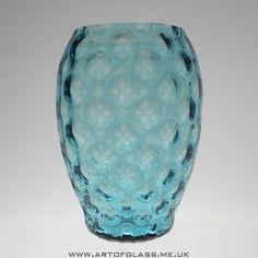 Borske Sklo Bohemian large olives blue glass vase