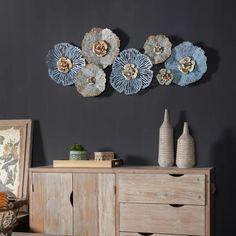 Metal Wall Sculpture, Wall Sculptures, Metal Wall Art, Wood Art, Metal Flower Wall Decor, Metal Flowers, Butterfly Wall Art, Grey Walls, Metal Walls