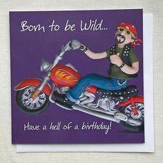 Mens Boys Fun Birthday Card, Harley Davidson Style Motorbike Born to be Wild ESB | eBay