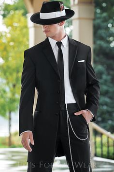 """Jim's Formal wear; Andrew Fezza Black Savannah style 834.  Features: 36"""" length coat, single breasted, Available in black and ivory As shown: Coat:834, Slim fit pants: 850, Shirt:96W, Tie: FSBL, Hat: HTF-"""