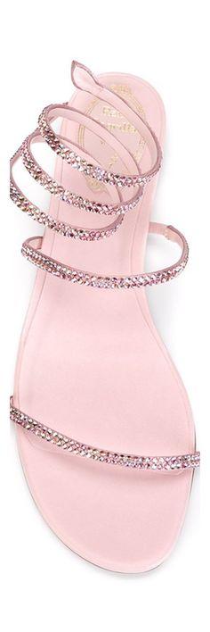 Rene Caovilla crystal embellished pink sandals