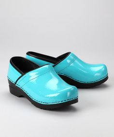 Take a look at this Turquoise Patent Professional Clog - Women by Sanita on #zulily today!