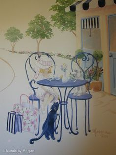 Hand Painted Wall Murals   Paris Cafe Mural - Close-up - Hand Painted Wall Murals - San Francisco ...