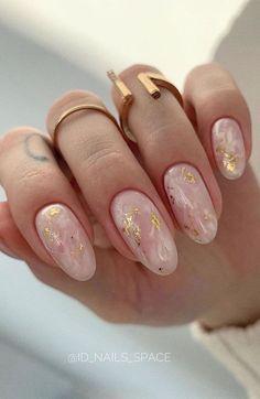 Best Acrylic Nails, Acrylic Nail Designs, Nail Art Designs, Neutral Nail Designs, Matte Nails, Round Nail Designs, Gold Gel Nails, Light Pink Nail Designs, Rounded Acrylic Nails