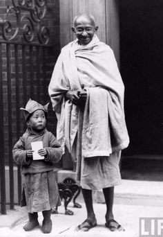 Mahatma Gandhi with Dalai Lama. Memorable moments of history well captured