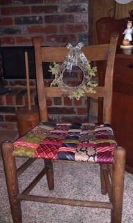 Used my dad's old ties to create a woven seat for this old chair I found in my husband's grandmother's attic.  A great family keepsake!