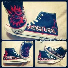 I got some black shoes do do these ONI just haven't done it yet Mais Supernatural Shoes, Supernatural Crafts, Supernatural Fashion, Supernatural Merchandise, Winchester Supernatural, Winchester Boys, Casual Cosplay, Custom Shoes, Custom Converse