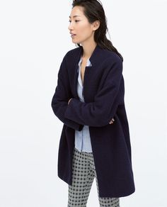 Image 2 of FAUX LEATHER DOUBLE BUTTONHOLE WOOL COAT from Zara