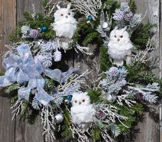 how can you dress up a basic evergreen wreath, christmas decorations, crafts, seasonal holiday decor, wreaths Owl Wreaths, Holiday Wreaths, Holiday Crafts, Christmas Decorations, Holiday Decor, Owl Decorations, Winter Wreaths, Deco Wreaths, Christmas Owls