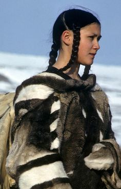 A beautiful woman Inuit with Clothes Caribou Skin, Inuit tribe, Alaska