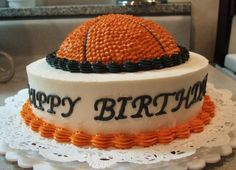 This has a lot of cool basketball cake ideas.